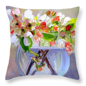 Flowers In Glass Bowl Throw Pillow