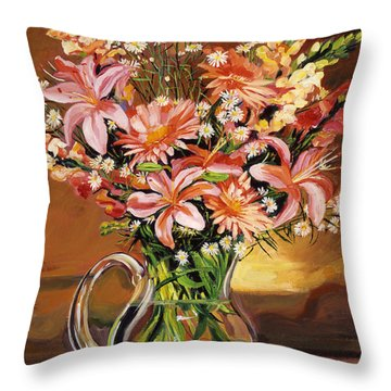 Flowers In Glass Throw Pillow
