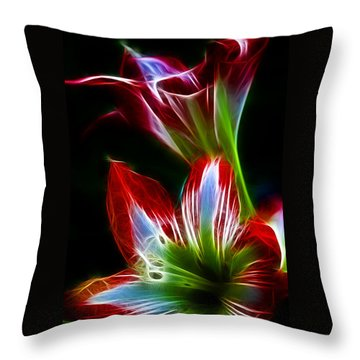 Flowers In Green And Red Throw Pillow