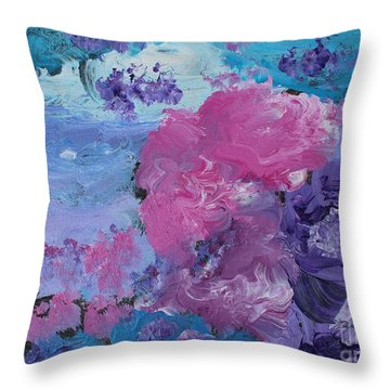 Flowers In The Clouds Throw Pillow