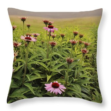 Flowers In The Fog Throw Pillow
