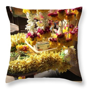 Flowers In The Market, Near Sajjangad 2 Throw Pillow
