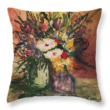 Flowers In Vases Throw Pillow