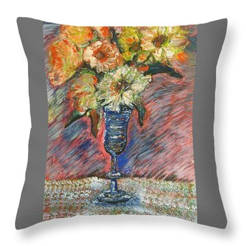 Flowers In Wine Glass Throw Pillow
