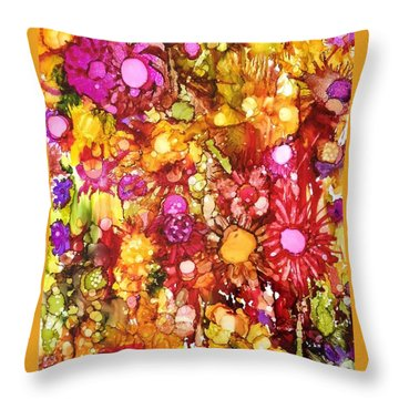Throw Pillow featuring the painting Flowers In Yellow And Pink by Suzanne Canner