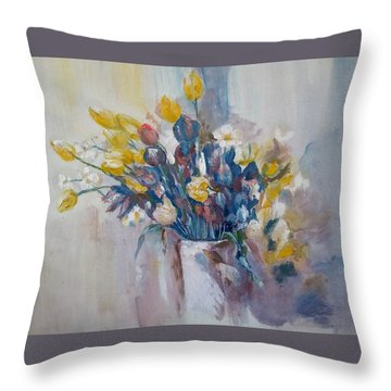 Tulips Flowers Throw Pillow