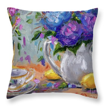 Throw Pillow featuring the painting Flowers Lemons by Jennifer Beaudet