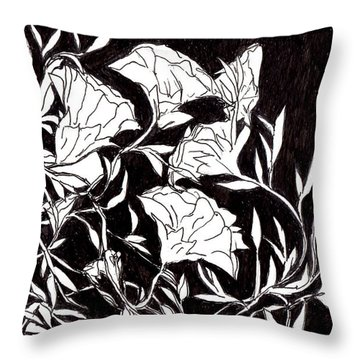 Throw Pillow featuring the drawing Flowers by Lou Belcher