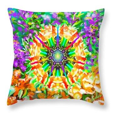 Flowers Mandala Throw Pillow