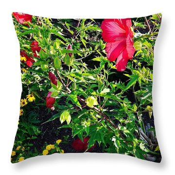 Flowers Of Bethany Beach - Hibiscus And Black-eyed Susams Throw Pillow