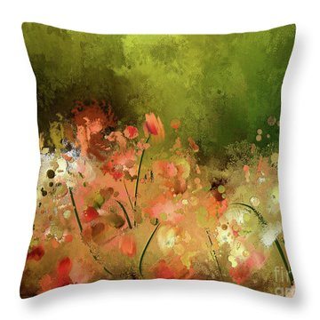 Throw Pillow featuring the digital art Flowers Of Corfu by Lois Bryan