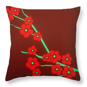 Flowers Throw Pillow by Oliver Johnston