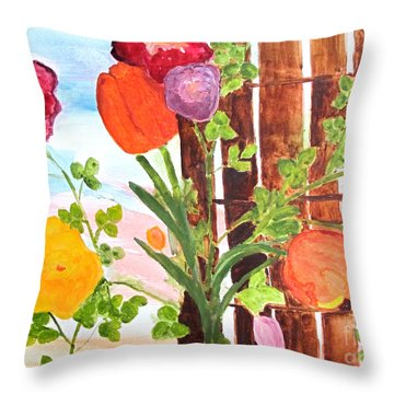 Throw Pillow featuring the painting Flowers On A Fence by Sandy McIntire