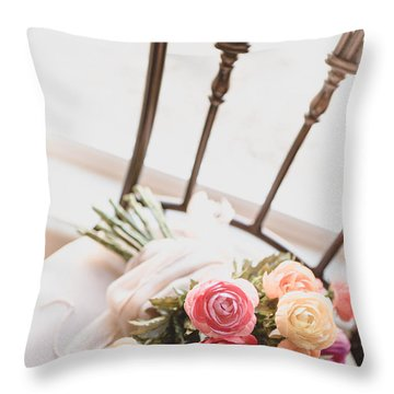 Flowers On Chair Throw Pillow