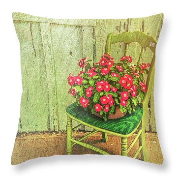 Throw Pillow featuring the photograph Flowers On Green Chair by Lewis Mann