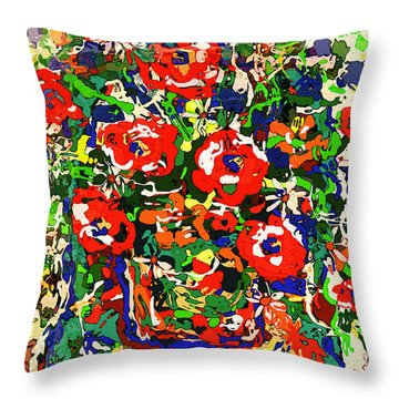 Flowers On Green Chair Throw Pillow by Natalie Holland