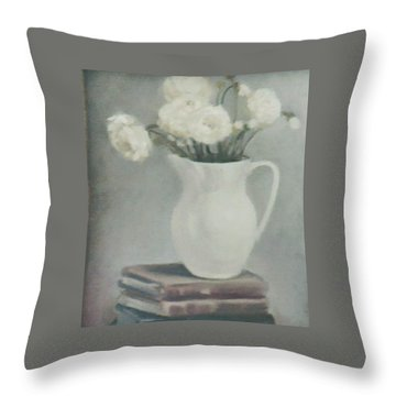 Flowers On Old Books Throw Pillow