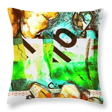 Flowers On Paper,  Collage And Acrylic Throw Pillow