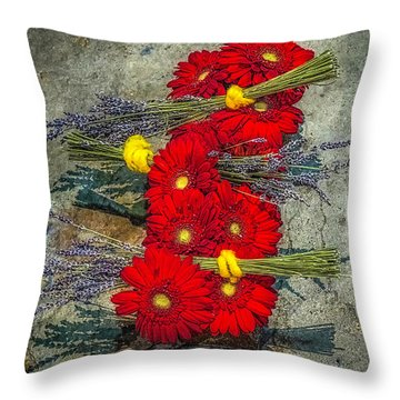 Throw Pillow featuring the photograph Flowers On Rocks by Nick Zelinsky