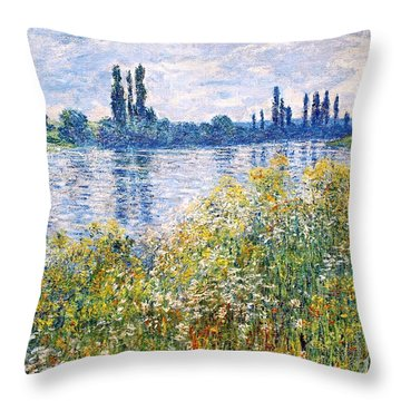Flowers On The Banks Of Seine Near Vetheuil Throw Pillow