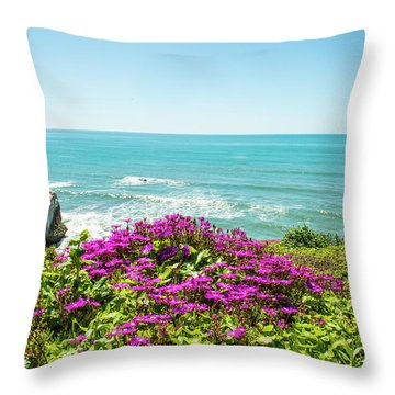 Flowers On The Cliff Throw Pillow