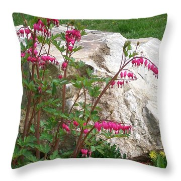 Flowers On The Rocks Throw Pillow