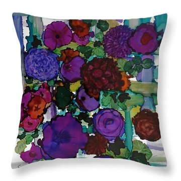 Flowers On Trellis Throw Pillow by Alika Kumar