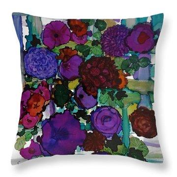 Flowers On Trellis Throw Pillow by Alika Kumar