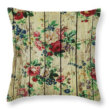 Flowers On Wood 01 Throw Pillow