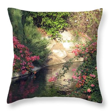 Flowers Over Pond Throw Pillow