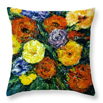 Flowers Painting #191 Throw Pillow by Donald k Hall
