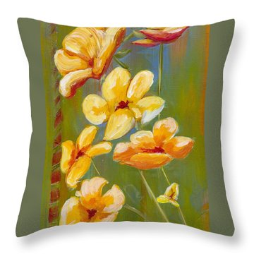 Flowers Throw Pillow by Patricia Cleasby