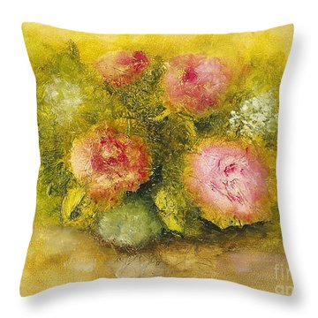 Throw Pillow featuring the painting Flowers Pink by Marlene Book