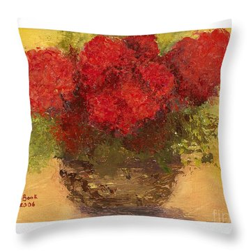 Throw Pillow featuring the mixed media Flowers Red by Marlene Book