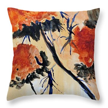 Throw Pillow featuring the painting Flowers by Sandy McIntire