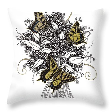 Throw Pillow featuring the drawing Flowers That Flutter by Stanza Widen