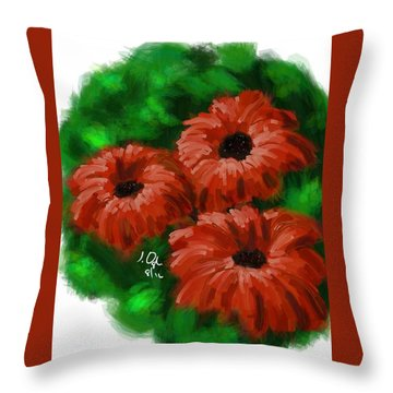 Throw Pillow featuring the painting Flowers1 by Joseph Ogle