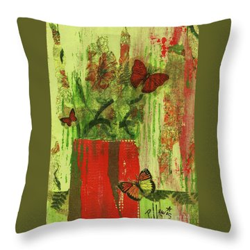 Throw Pillow featuring the mixed media Flowers,butteriflies, And Vase by P J Lewis