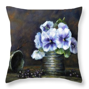 Throw Pillow featuring the painting Flowers,pansies Still Life by Katalin Luczay