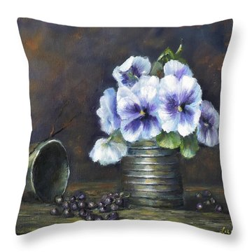 Throw Pillow featuring the painting Flowers,pansies Still Life by Luczay