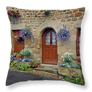 Flowery Doorways In Brittany Throw Pillow