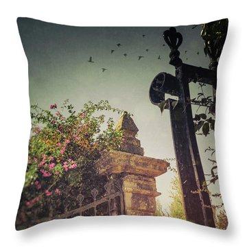Flowery Iron Gate Throw Pillow