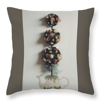 Flowery Teapot Throw Pillow