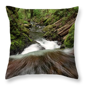 Flowing Downstream Waterfall Art By Kaylyn Franks Throw Pillow