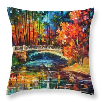 Flowing Under The Bridge  Throw Pillow by Leonid Afremov