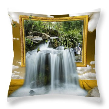 Flowing Waterfall Throw Pillow