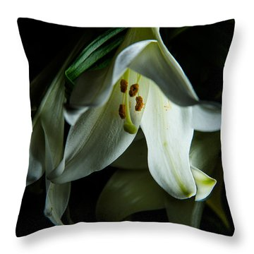 Throw Pillow featuring the photograph Flowing White Lily by Dennis Dame