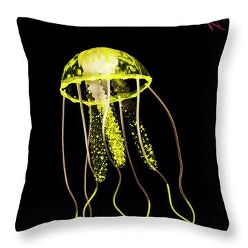 Flows Of Yellow Marine Life Throw Pillow