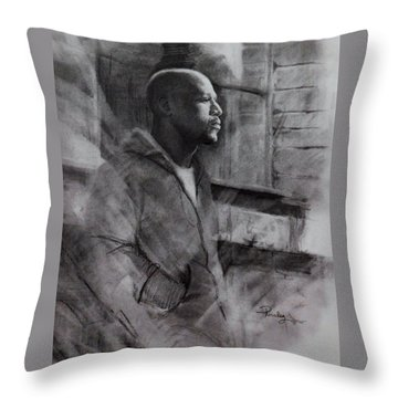 Reflections Of Floyd Mayweather Throw Pillow by Noe Peralez