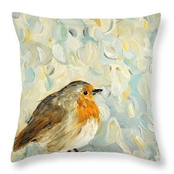Fluffy Bird In Snow Throw Pillow